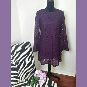 Tacera Purple Lace Bell Sleeve Dress Sz PL